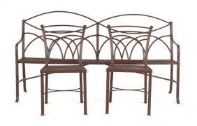 English Wrought Iron Garden Bench, 19th C., 40
