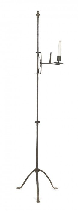 Wrought Iron And Brass Adjustable Candlestand, 1