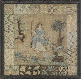 Silk On Linen Pictorial Darning Sampler, Late 18