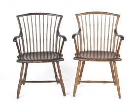 Two Similar Delaware Valley Windsor Armchairs, C