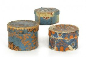 Two Round Wallpaper Boxes, 19th C., Together Wi