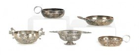 Five Continental Silver Wine Tasters, 18th/19th C