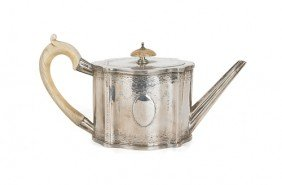 English Silver Teapot, 1779-1780, Bearing The T