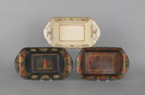Three Tole Bread Trays, 19th C., Approx. 3'' H., 1