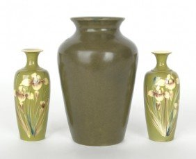 Zark Pottery Vase, 6 1/4'' H., Together With A Pai