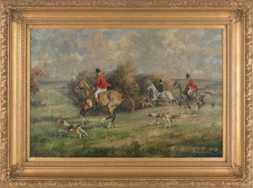 Contemporary Oil On Canvas Fox Hunting Scene, 24''