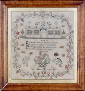 Silk On Linen Sampler, Dated 1834, Wrought By