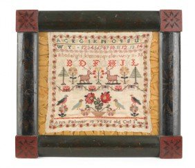 Silk On Linen Sampler, Dated 1856, Wrought By