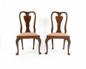 Pair Of George II Mahogany Dining Chairs, Ca. 175