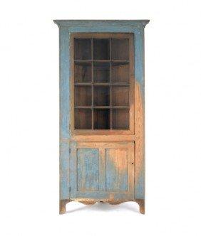 Painted Hard Pine One-piece Corner Cupboard, Earl