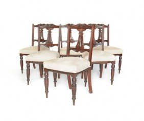 Set Of Six English Carved Mahogany Dining Chairs,