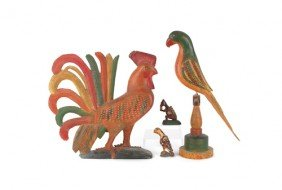 Keith Collis Carved Rooster And Parrot, Together