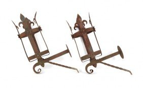 Pair Of Wrought Iron Wall Mounted Torchieres, 36''