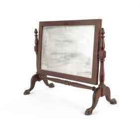 Chippendale Style Mahogany Shaving Mirror, Ca. 19