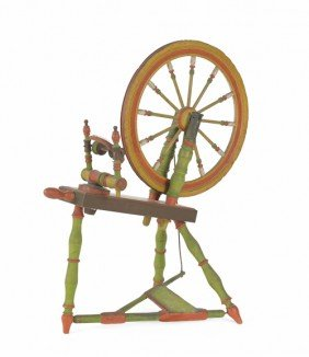 Painted Spinning Wheel, 19th C.