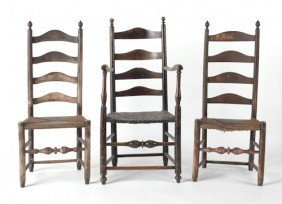 Pair Of Ladderback Side Chairs, Ca. 1760, With Ol