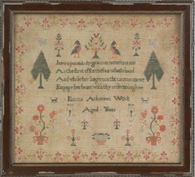 Wool On Linen Sampler, 19th C., 15 3/4'' X 17 1/2'