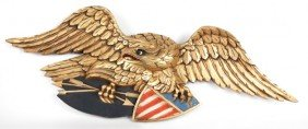 Carved And Gilded Eagle Plaque, Ca. 1940, 43'' W.