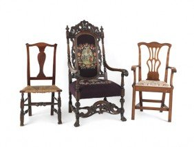 Six Assorted Chairs, To Include Two Wingbacks, An