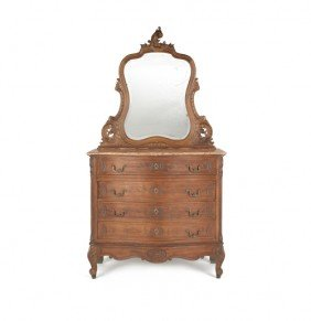 French Mahogany Marble Top Dresser With Mirror, E