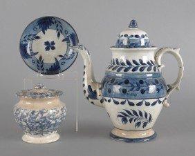 Leeds Porcelain Coffee Pot, 19th C., Together Wit