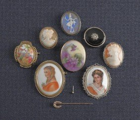 Seven Cameos, 19th/20th C., To Include Limoges Po