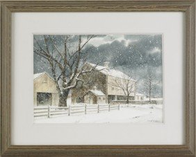 Richard Bollinger, Watercolor Snow Scene Of A Bar