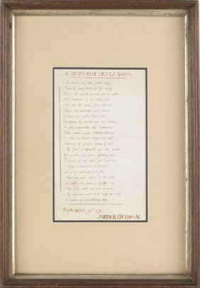 Poem Titled Birthday Reflextion, Dated Sept. 1