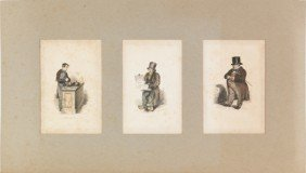 Four Early French Colored Engravings, 19th C., La