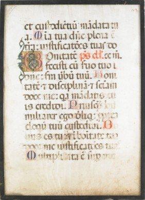 Framed Vellum Manuscript Page, 20 1/2'' X 15''.
