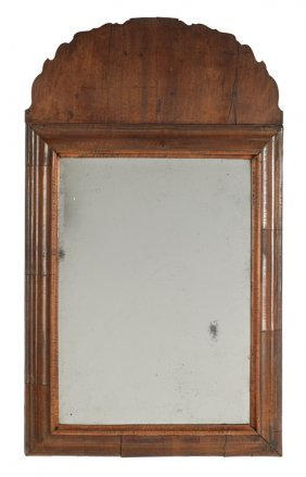 Queen Anne Walnut Veneer Looking Glass, Ca. 1740