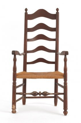 Delaware Valley Maple Ladderback Armchair, Ca. 1