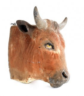 Painted Zinc Bull's Head Plaque, Late 19th C.,