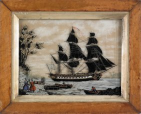Reverse Painting On Glass Ship Portrait, Mid 19t