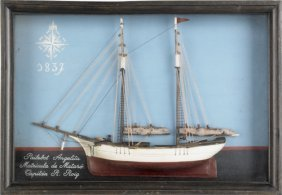 Carved And Painted Shadowbox Ship Model, Early 2