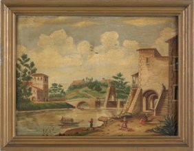Continental Oil On Panel Canal Scene, Early 19th
