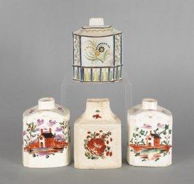 Four English Creamware And Pearlware Tea Caddies