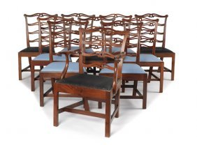 Assembled Set Of Eleven Ribbon Back Dining Chair