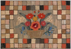 Large American Hooked Rug, 19th C., With A Bask