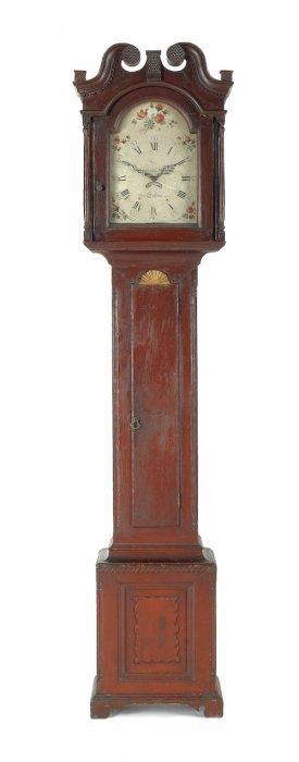 Pennsylvania Painted Pine Tall Case Clock, Ca. 1