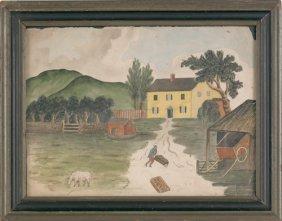 New Jersey Watercolor On Paper Farm Scene, Early