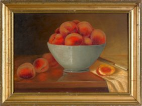 Oil On Board Still Life Of Peaches, Late 19th C.