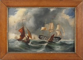 Oil On Canvas Ship Painting, 19th C., Depicting