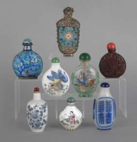 Collection Of Eight Chinese Snuff Bottles, To Inc