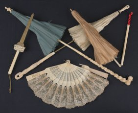Three Chinese Ivory Handled Parasols, Together Wi
