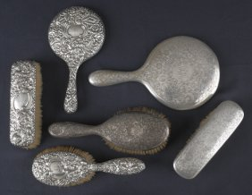 Four Silver Mounted Brushes, Together With Two Ha