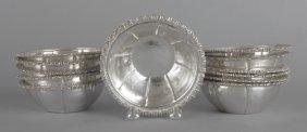 Set Of Twelve 900 Silver Bowls, Stamped Welsh Pl
