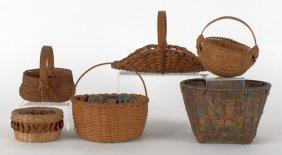 Six Splint Baskets, 19th C., Tallest - 6 1/4''.
