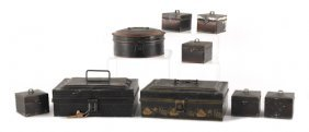 Three Tin Spice Boxes, 19th C., Together With Six