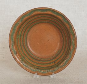 Pennsylvania Redware Bowl, 19th C., Attributed